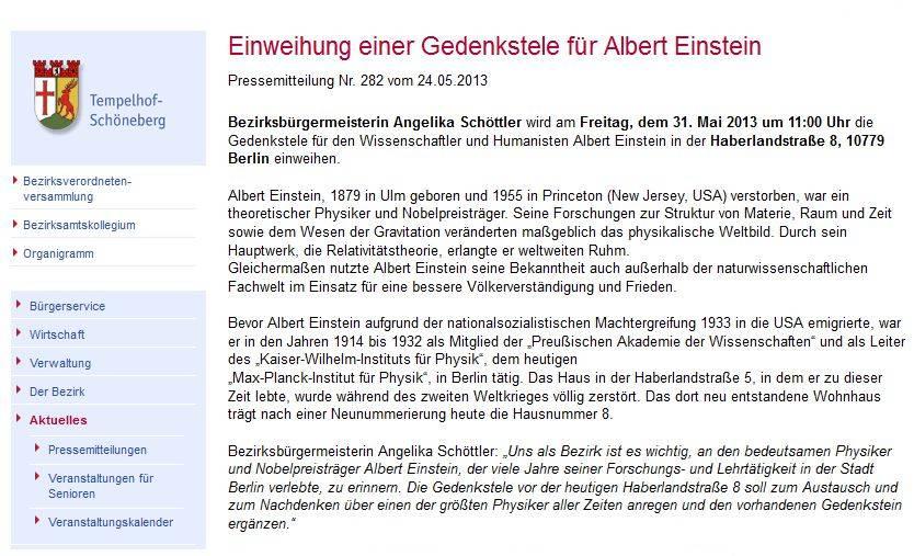 Einweihung einer Gedenkstele für Albert Einstein - Berlin